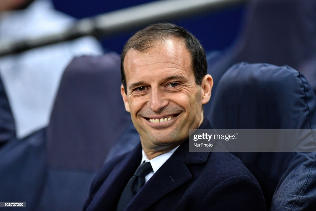 Massimiliano Allegri manager of Juventus during the UEFA Champions League match between Tottenham Hotspur and Juventus at Wembley Stadium, London, England on 7 March 2018.