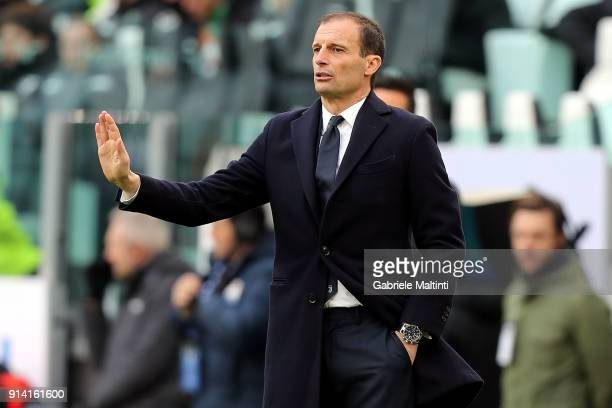 Massimiliano Allegri manager of Juventus FC gives instructions during the serie A match between Juventus and US Sassuolo on February 4 2018 in Turin...