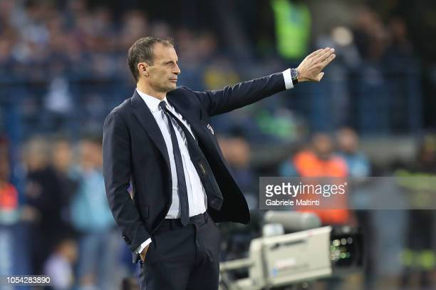 Massimiliano Allegri manager of Juventus FC shouts instructions to his players during the Serie A match between Empoli and Juventus at Stadio Carlo...