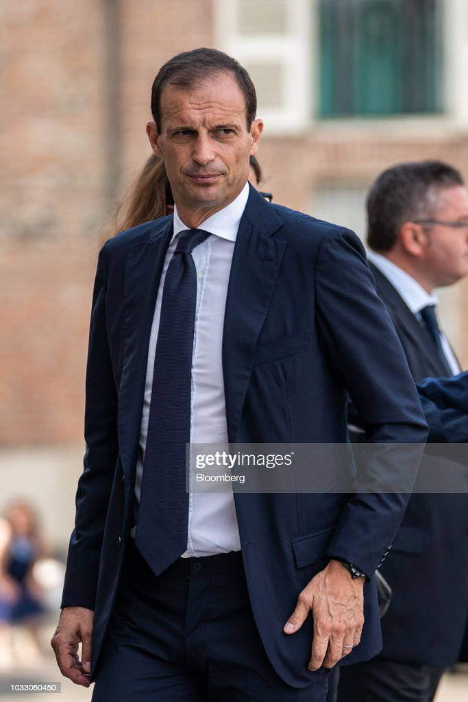 Massimiliano Allegri, manager of Juventus soccer club, arrives for a memorial service for former Fiat Chrysler Automobiles NV chief executive officer Sergio Marchionne at the cathedral in Turin, Italy, on Friday, Sept. 14, 2018. Marchionne, the architect of the automaker's dramatic turnaround died, aged 66, on Wednesday, July 25, 2018. Photographer: Federico Bernini/Bloomberg via Getty Images