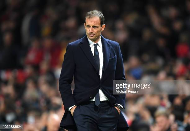 Massimiliano Allegri Manager of Juventus walks off at half time during the Group H match of the UEFA Champions League between Manchester United and...
