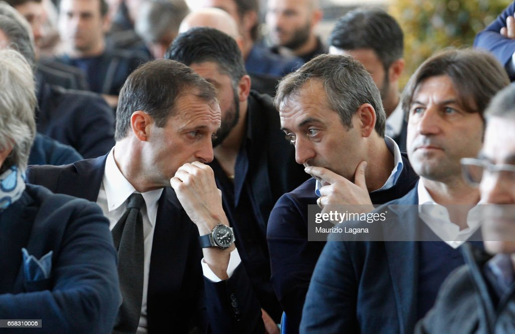 Massimiliano Allegri of Juventus and Marco Giampaolo of Sampdoria attend at Italian Football Federation 'Panchine D'Oro E D'Argento' Prize at Coverciano on March 27, 2017 in Florence, Italy.