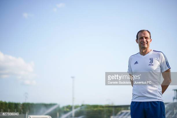 Massimiliano Allegri of Juventus during a training session on August 7 2017 in Vinovo Italy