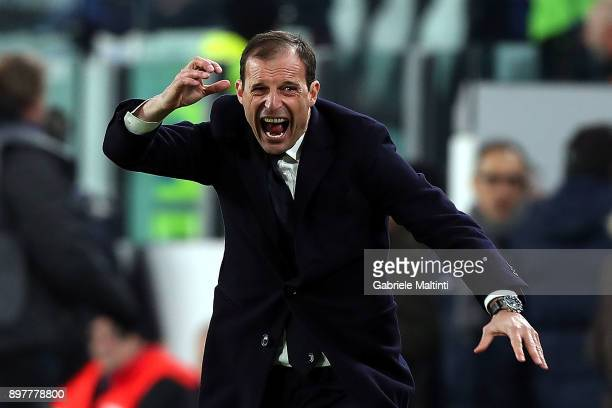 Massimiliano Allegri of Juventus gestures during the serie A match between Juventus and AS Roma on December 23 2017 in Turin Italy
