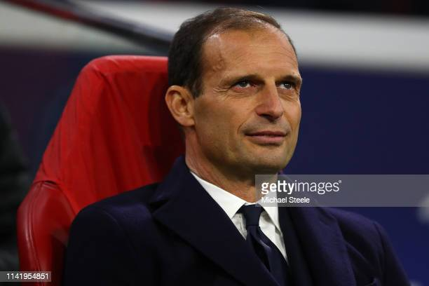 Massimiliano Allegri the coach of Juventus during the UEFA Champions League Quarter Final first leg match between Ajax and Juventus at Johan Cruyff...