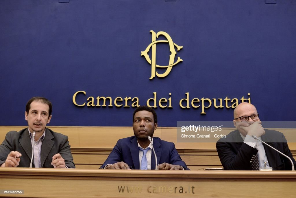 Massimiliano Bernini, Deputy of the M5S in Agriculture Commission,Yvan Sagnet, chairman of the 'No Cap' association, Angelo Consoli, Strategic Direction 'No Cap' during the presentation of the No Cap Association, against the exploitation of agricultural labor, on June 6, 2017 in Rome, Italy. Caporalato is the illegal recruitment of agricultural workers, especially migrants, for very low wages. The aim of the international anti-caporalato network designed to promote a new economic and employment model, free from slavery and over-exploitation of environmental and landscape resources.