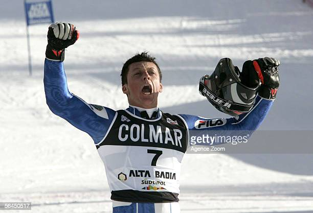 Massimiliano Blardone of Italy celebrates winning the Men's Giant Slalom event during the FIS Skiing World Cup on December 18, 2005 in Alta Badia,...