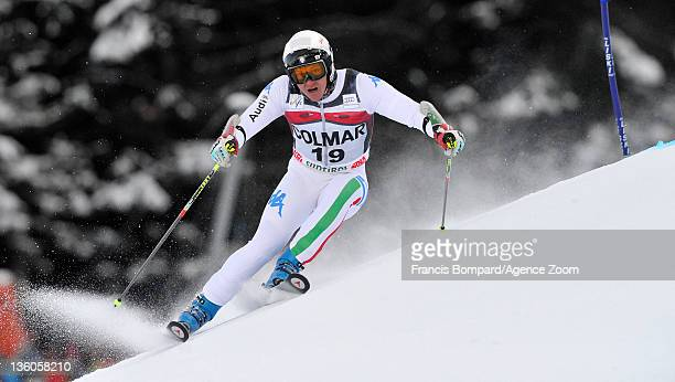 Massimiliano Blardone of Italy takes 1st place during the Audi FIS Alpine Ski World Cup Men's Giant Slalom on December 18, 2011 in Alta Badia, Italy.