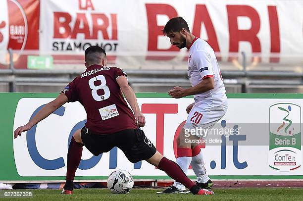 Massimiliano Busellato of US Salernitana FC and Franco Brienza of AS Bari in action during the Serie B match between AS Bari and US Salernitana FC at...