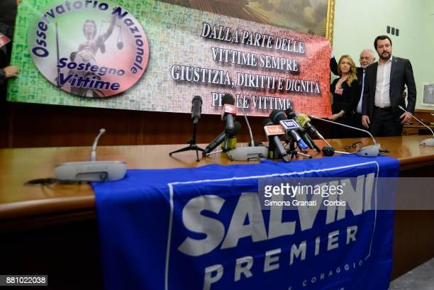 Massimiliano Fedriga Elisabetta Aldovrandi Matteo Salvini e Nicola Molteni during the Press conference the Lega Nord with the National Observatory to...