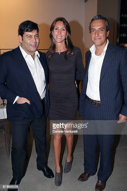 Massimiliano Ferruzzi Alessandra Ferruzzi and Rocco Benetton attend the Cardi Black Box Dinner on October 13 2009 in Milan Italy
