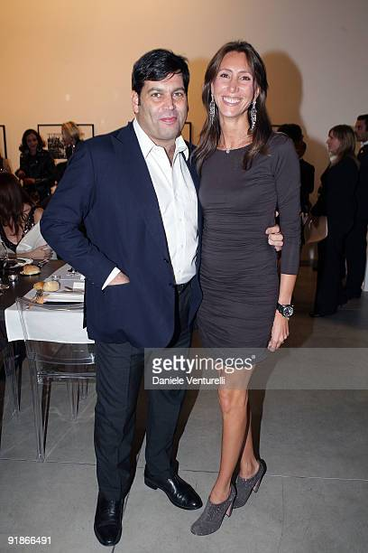 Massimiliano Ferruzzi and Alessandra Ferruzzi attend the Cardi Black Box Dinner on October 13 2009 in Milan Italy