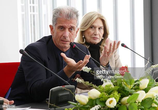 Massimiliano Finazzer Flory and Vania Traxler Protti attend Life During Wartime press conference held at Palazzo Morando on April 12 2010 in Milan...
