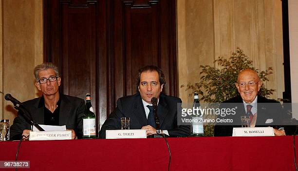 Massimiliano Finazzer Flory Giovanni Terzi Mario Boselli attend the Milan Fashion Week Womenswear Press Conference on February 16 2010 in Milan Italy
