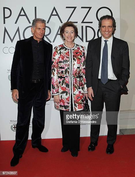 Massimiliano Finazzer Flory Letizia Moratti Giovanni Terzi attend the opening of new exhibition space at Palazzo Morando dedicated to fashion and...