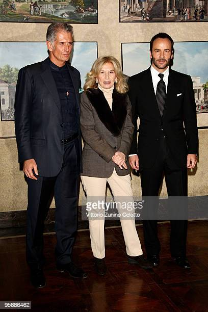 Massimiliano Finazzer Flory Vania Traxler Protti and Tom Ford attend ' A Single Man' Milan Photocall held at Palazzo Marino on January 11 2010 in...