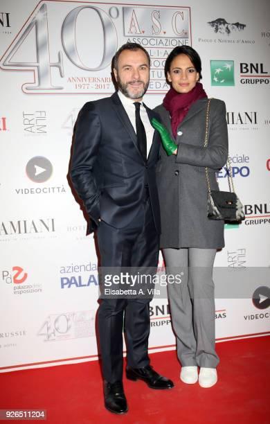 Massimiliano Gallo and Shalana Santana attend the ASC 40th anniversary party at Palazzo delle Esposizioni on March 2, 2018 in Rome, Italy.