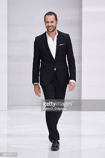 Massimiliano Giornetti walks the runway during the Salvatore Ferragamo fashion show as part of Milan Fashion Week Spring/Summer 2016 on September 27...