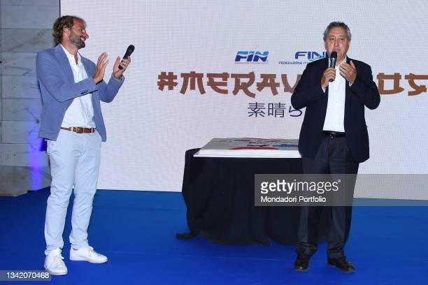 Massimiliano Rosolino and Paolo Barelli on the blue carpet of the Gala I Meravigliosi, an event organized by the Italian swimming federation to...