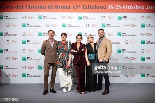 Massimiliano Rossi Marina Confalone Pina Turco Cristina Donadio and Edoardo De Angelis attend the Il Vizio Della Speranza photocall during the 13th...