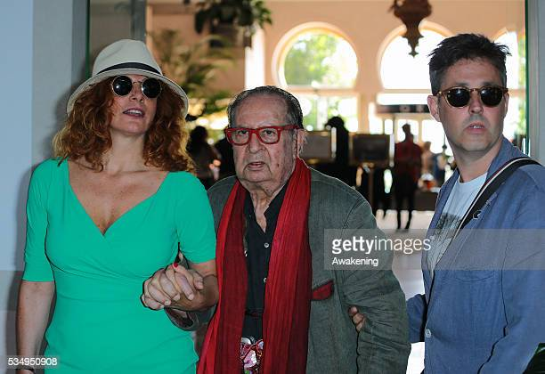 Massimiliano Zanin, Tinto Brass and actress Caterina Varzi are seen during the 70th Venice International Film Festival