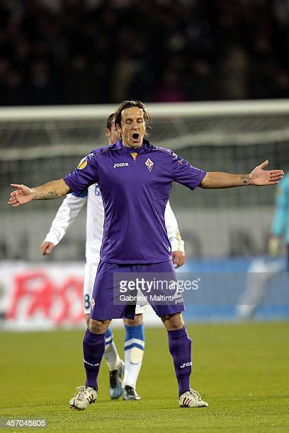 Massimo Ambrosiini of ACF Fiorentina in action during the Uefa Europa League Group E match between ACF Fiorentina and FC Dnipro Dnipropetrovsk at...