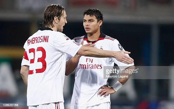 Massimo Ambrosini and Thiago Silva of Milan discuss tactics during the Serie A match between Catania Calcio and AC Milan at Stadio Angelo Massimino...
