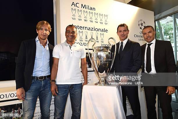 Massimo Ambrosini Cafu Dejan Stankovic an Ivan Ramiro Cordoba pose for a photo during the Festival Gallery prior to the UEFA Champions League Final...