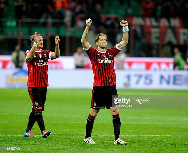 Massimo Ambrosini of AC Milan celebrates after the Serie A match between AC Milan and AS Roma at Stadio Giuseppe Meazza on March 24 2012 in Milan...
