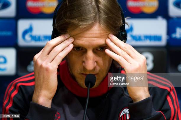Massimo Ambrosini of AC Milan faces the media during a press conference ahead of their UEFA Champions League round of 16 second leg against FC...