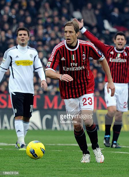 Massimo Ambrosini of AC Milan runs with the ball during the Serie A match between AC Cesena and AC Milan at Dino Manuzzi Stadium on February 19 2012...