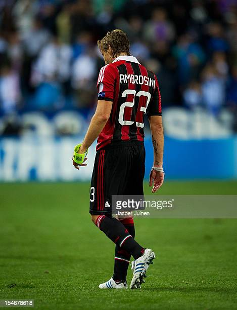 Massimo Ambrosini of AC Milan trudges off the pitch at the end of the UEFA Champions League group C match between Malaga CF and AC Milan at the...