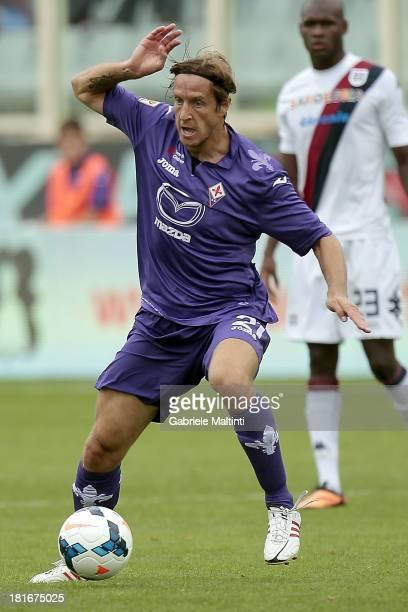 Massimo Ambrosini of ACF Fiorentina in action during the Serie A match between ACF Fiorentina and Cagliari Calcio at Stadio Artemio Franchi on...