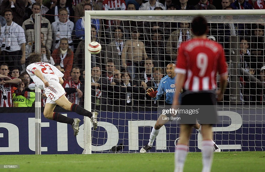 Massimo Ambrosini of Milan scores the goal that took his team to the final during the champions league semi final second Leg match between PSV Eindhoven and AC Mailand at the Philips Stadium on May 4, 2005 in Eindhoven, Netherlands.