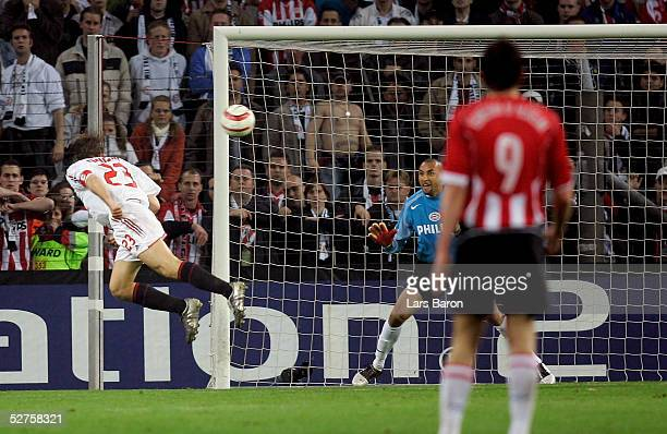 Massimo Ambrosini of Milan scores the goal that took his team to the final during the champions league semi final second Leg match between PSV...