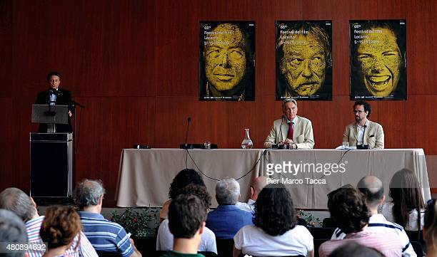 Massimo Baggi Swiss Consul in Milan makes a speech during the 68 Locarno Film Festival press conference on July 16 2015 in Milan Italy