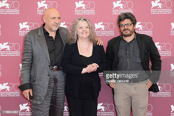 Massimo Bassoli Gail Zappa and Director Salvo Cuccia attend Summer 82 When Zappa Came To Sicily Photocall during The 70th Venice International Film...