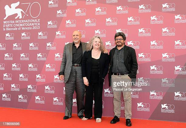 Massimo Bassoli Gail Zappa and director Salvo Cuccia attend the 'Summer 82 When Zappa Came To Sicily' Photocall during The 70th Venice International...