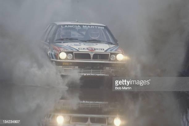 Massimo Biasion and co driver Tiziano Siviero of Italy driving the Martini Lancia Delta HF Integrale 16v during the FIA World Rally Championship 46th...