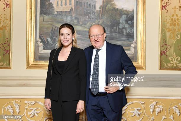 Massimo Boldi and Irene Fornaciari attend the Telethon dinner during the 14th Rome Film Festival on October 22 2019 in Rome Italy