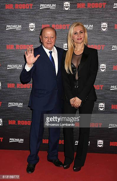 Massimo Boldi and Loredana De Nardis attend the 'Mr Robot' Tv Show Photocall on February 29 2016 in Milan Italy