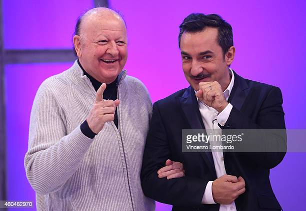 Massimo Boldi and Nicola Savino attend the 'Quelli Che Il Calcio' Tv Show on December 14 2014 in Milan Italy