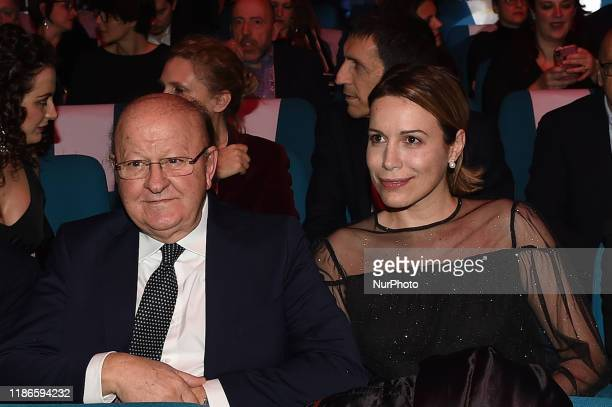 Massimo Boldi with Irene Fornaciari attends Biglietti d'oro Anec during the 41th Giornate Professionali del Cinema Sorrento Italy on 4 December 2019