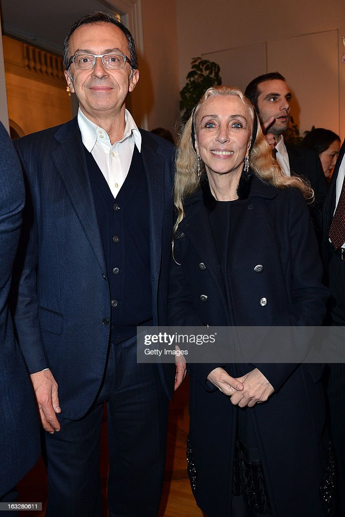 Massimo Borio, Citroen Director of Marketing and Communications, and Franca Sozzani, Vogue Italia Editor in Chief, attend the charity auctioning of the first 'Citroen DS3 Cabrio L'Uomo Vogue' hosted by L'Uomo Vogue and Citroen at the Permanent Mission of France to the United Nations Office on March 6, 2013 in Geneva, Switzerland.