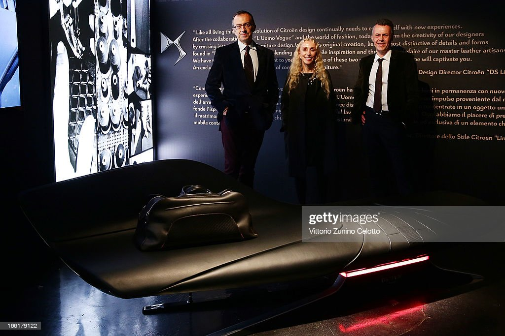 Massimo Borio, Franca Sozzani, Thierry Metroz attend Citroen DS Sofa and DS3 Cabrio L'Uomo Vogue Limited Edition cocktail at Corso Como 10 on April 9, 2013 in Milan, Italy.