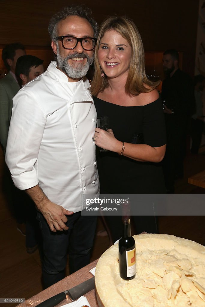 Massimo Bottura and Jenna Bush Hager attend Edible Schoolyard NYC Annual Harvest Dinner with Chef Massimo Bottura, Hosted by Lela Rose at Private Residence on November 17, 2016 in New York City.