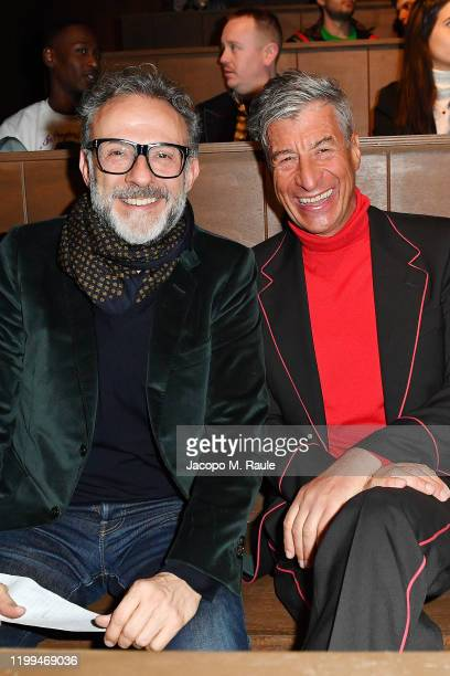 Massimo Bottura Maurizio Cattelan and Phoebe CollingsJames are seen on Gucci Front Row during Milan Menswear Fashion Week Fall/Winter 2020/21 on...