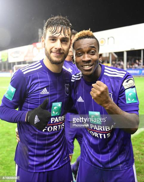 Massimo Bruno midfielder of RSC Anderlecht and Henry Onyekuru forward of RSC Anderlecht celebrates the win during the Jupiler Pro League match...