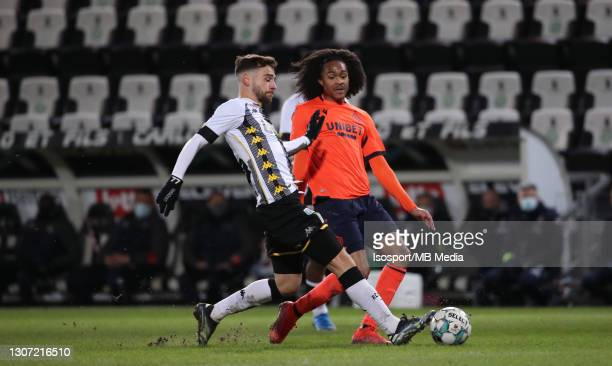 Massimo Bruno of Charleroi battles for the ball with Tahith Chong of Club Brugge during the Jupiler Pro League match between Sporting de Charleroi...