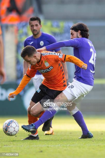 Massimo Bruno of Charleroi in action during the Jupiler Pro League playoff 2 group A match between Beerschot Wilrijk and Sporting Charleroi on May 11...